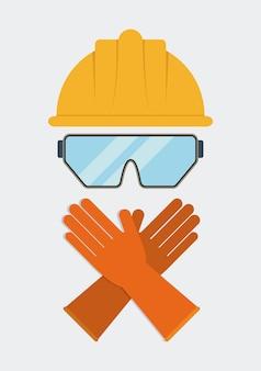 Icône de gants lunettes casque jaune