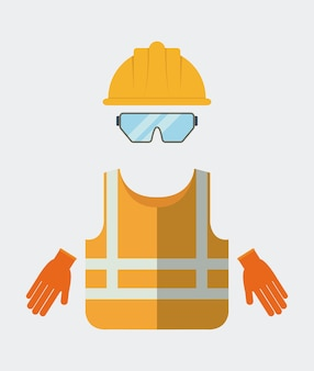 Icône de gants lunettes veste casque jaune