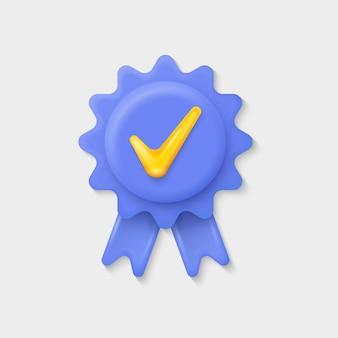 Icône de garantie de qualité avec symbole de ruban et de coche
