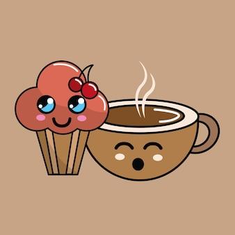 Icône de gâteau et café à la cerise kawaii