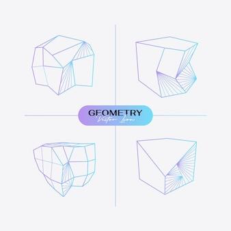 Icône géométrique moderne abstraite définie dans un style branché.