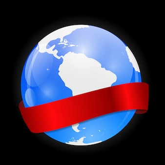 Icône globe avec ruban rouge