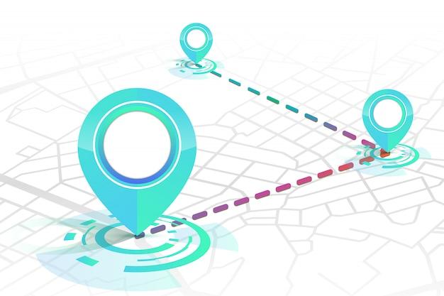 Icône de gps montrant dans la rue sur blanc