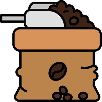 Icône de grains de café pour l'application d'impression de conception d'affiche de document de site web style d'icône de concept de café
