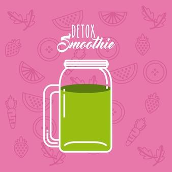 Icône green detox. smoothie et juice design. graphique de vecteur