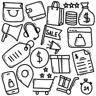 Icône de griffonnage des achats en ligne