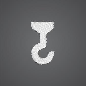 Icône de griffonnage de logo de croquis de grue de construction d'isolement sur le fond foncé