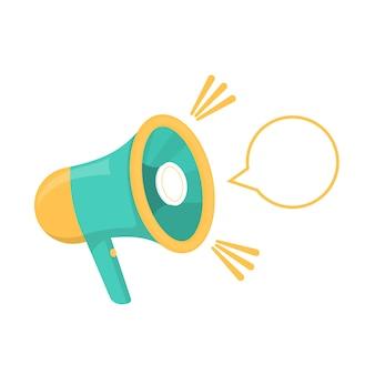 Icône de haut-parleur. symbole plat en jaune et turquoise. amplificateur de voix et de parole. l'objet d'attirer l'attention et les protestations. illustration vectorielle.