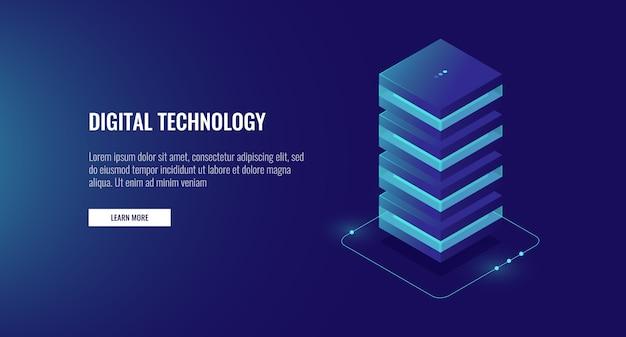 Icône d'hébergement web, unité de traitement de données isométrique, salle des serveurs de bases de données