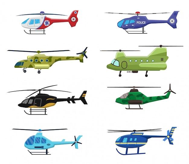 Icône d'hélicoptères militaires, policiers et médicaux sur fond blanc, transport aérien, aviation, illustration.