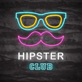 Icône de hipster néon