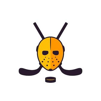 Icône de hockey avec masque et bâtons croisés sur blanc