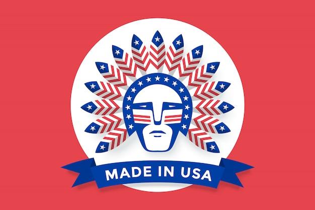 Icône de l'homme américain avec des plumes de chef indien sur la tête
