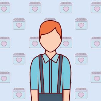 Icône de l'homme avatar sur fond de calendriers