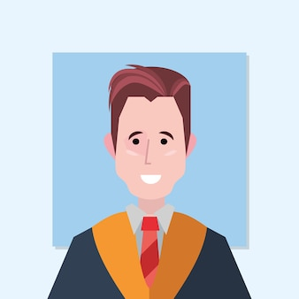 Icône de l'homme diplômé heureux