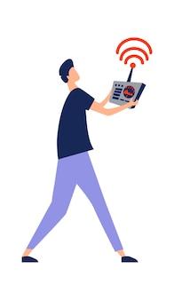 Icône d'un homme avec une télécommande dans ses mains, contrôlant une illustration de vecteur de dessin animé de drone isolé sur blanc
