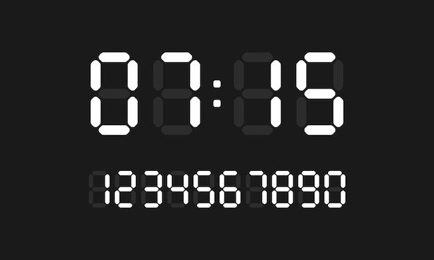 Icône de l'horloge numérique. jeu de nombres de calcul numérique. vecteur sur fond noir isolé. eps 10.