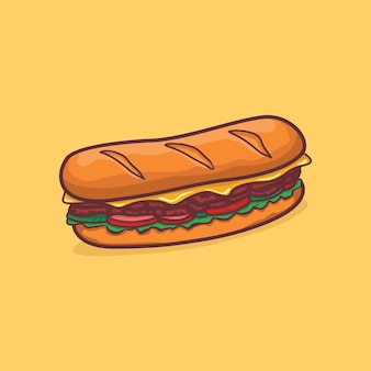 Icône de hot-dog isolé vector illustration avec contour cartoon couleur simple