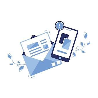 Icône illustration bannière du concept d'email marketing & message. lettre, feuille dans une enveloppe. envoi de l'application. pour les sites, le web. papier. téléphone, newsletter. avis important. article.