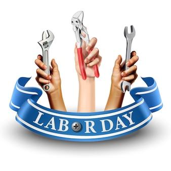 Icône illustration de la bannière de la fête du travail. emblème de l'élément. mains tenant des instruments comme une vis ou une clé. sur fond blanc.