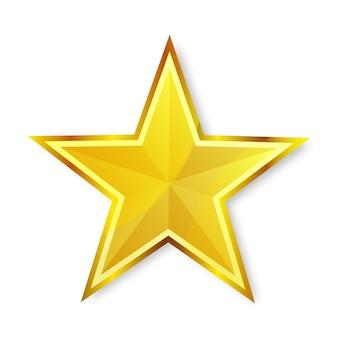 Icône illustration étoile dorée brillante sur fond blanc
