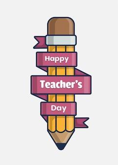 Icône d'illustration avec la journée des enseignants heureux