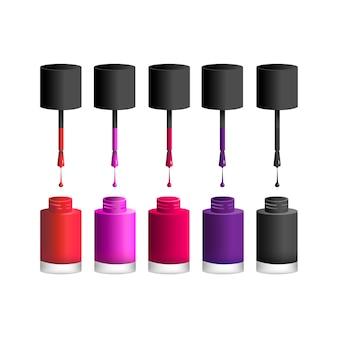Icône illustration vectorielle de vernis à ongles avec gros pinceaux
