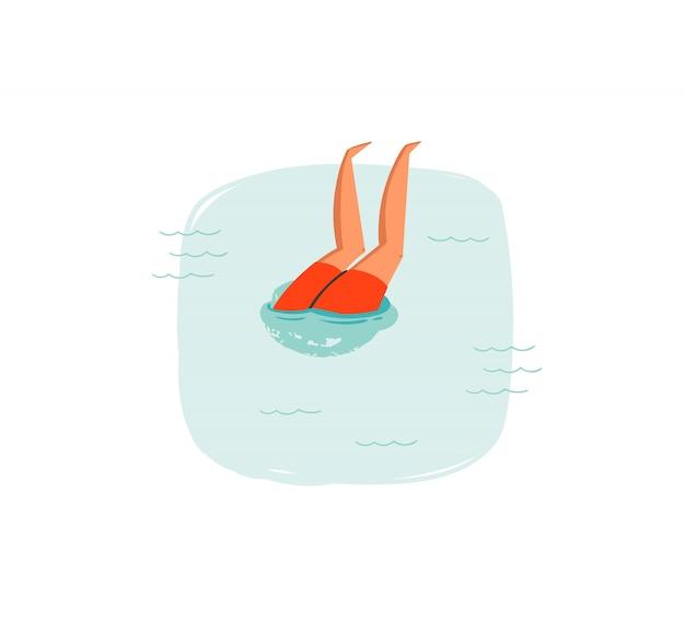 Icône d'illustrations amusantes de l'heure d'été coon dessinés à la main avec garçon de plongée natation dans les vagues de l'océan bleu sur fond blanc