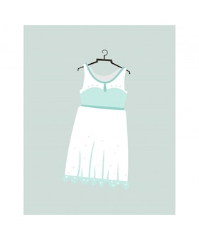 Icône d'illustrations dessin animé abstrait dessinés à la main avec robe de mariée isolé sur blanc