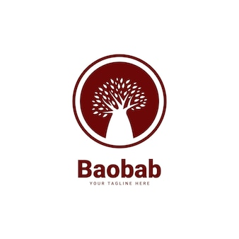 Icône d'insigne de logo d'arbre de baobab