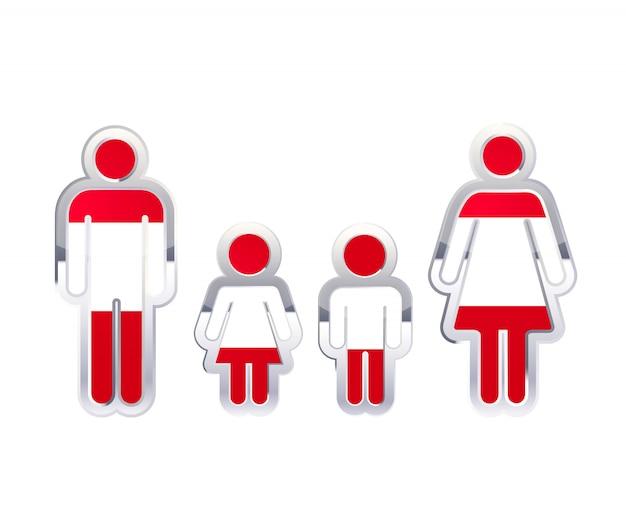 Icône d'insigne en métal brillant dans les formes homme, femme et enfants avec le drapeau de l'autriche, élément infographique sur blanc