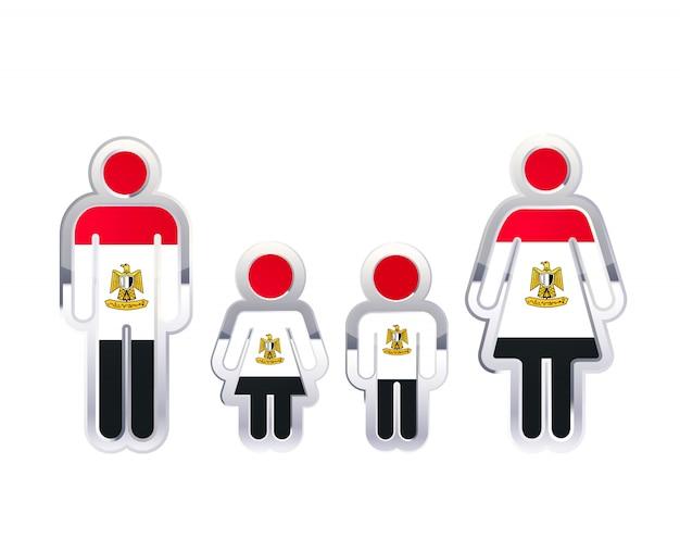 Icône d'insigne en métal brillant dans les formes homme, femme et enfants avec le drapeau de l'égypte, élément infographique sur blanc