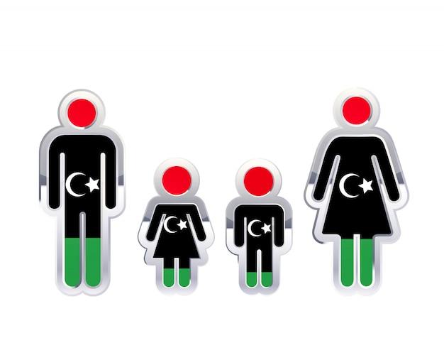 Icône d'insigne en métal brillant dans les formes homme, femme et enfants avec le drapeau de la libye, élément infographique sur blanc