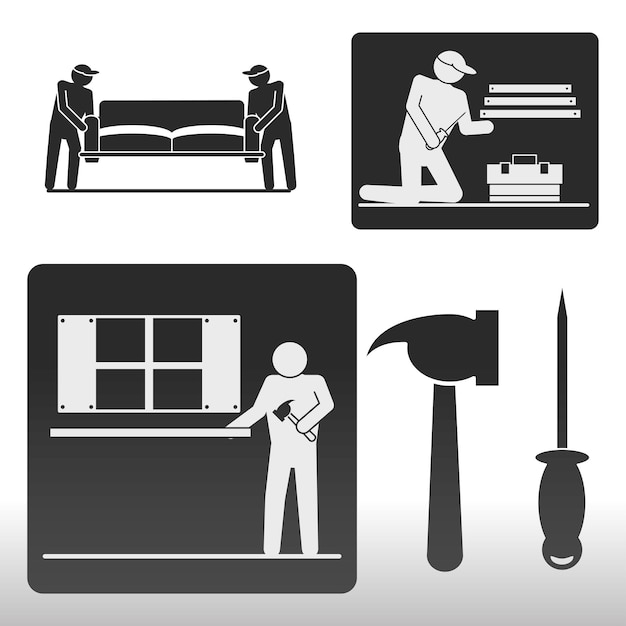 Icône d'installation d'ouvriers