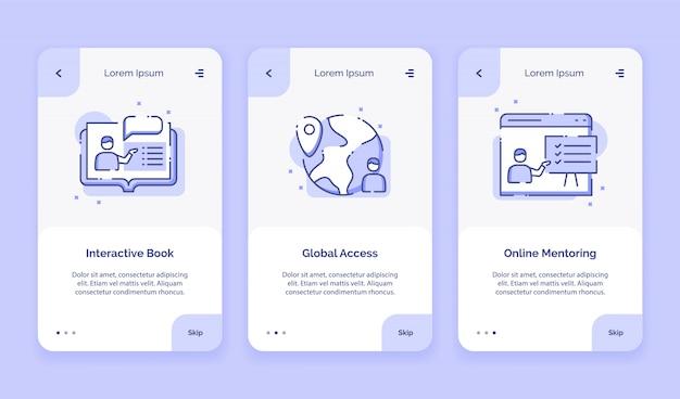 Icône d'intégration, cours en ligne, livre interactif, accès mondial, campagne de mentorat en ligne pour le modèle de page de destination des applications mobiles avec un style plat.