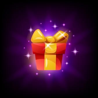 Icône d'interface de jeu de boîte-cadeau sur fond noir. illustration en style cartoon