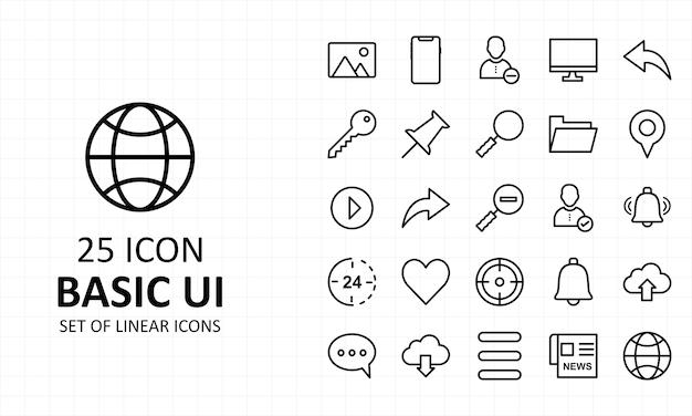 Icône d'interface utilisateur de base icônes parfaites de pixel