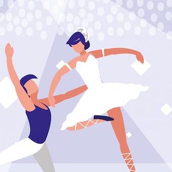 Icône isolé de couple de danseurs de ballet
