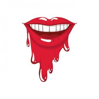 Icône isolé dégoulinant de bouche féminine