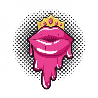 Icône isolé dégoulinant de lèvres féminines