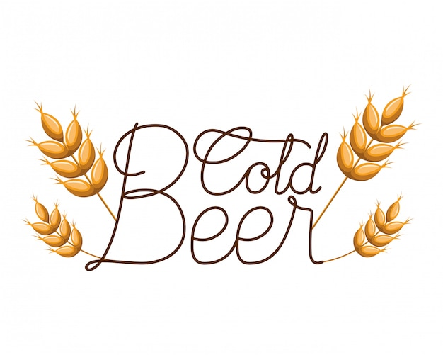 Icône isolé étiquette de bière froide