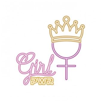 Icône isolé de fille power label