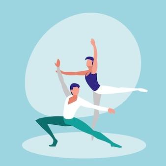 Icône isolé d'hommes danseurs de ballet
