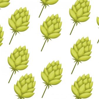 Icône isolé motif pomme de pin verte