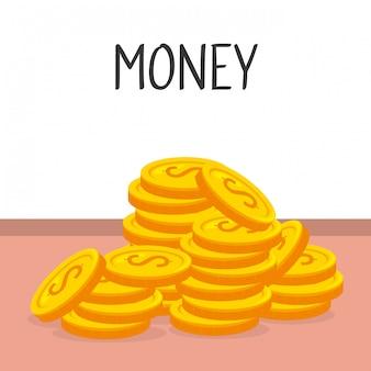 Icône isolé de pièces d'argent