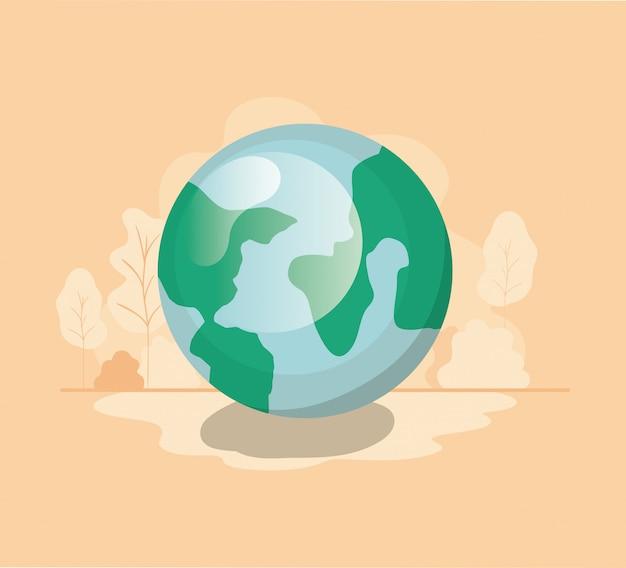 Icône isolé de la planète terre