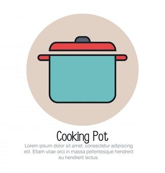 Icône isolé de pot de cuisine