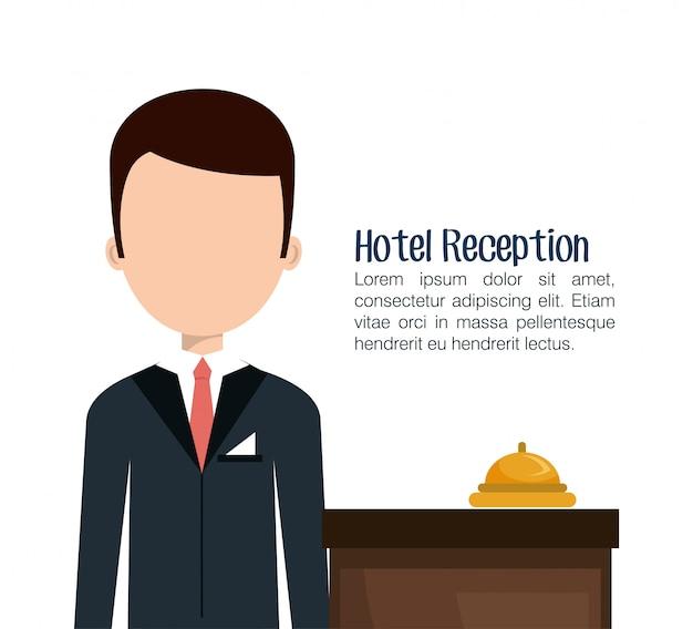 Icône isolé de service hôtelier réceptionniste