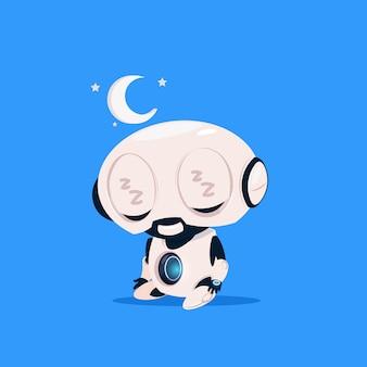 Icône isolé sommeil mignon robot sur le concept d'intelligence artificielle de technologie moderne fond bleu