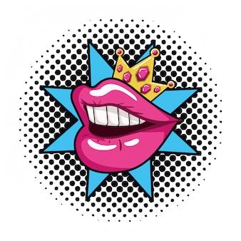 Icône isolé de style femme bouche pop art